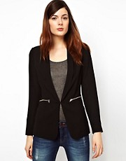 Warehouse Long Line Blazer With Zip Pockets