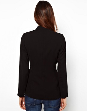 Image 2 ofWarehouse Long Line Blazer With Zip Pockets