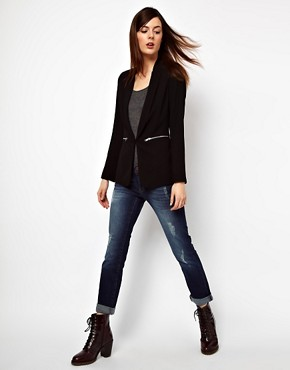 Image 3 ofWarehouse Long Line Blazer With Zip Pockets