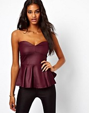ASOS Strapless Peplum Top in Wetlook