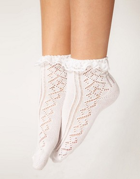 Image 1 ofASOS Crochet Lace Frill Socks