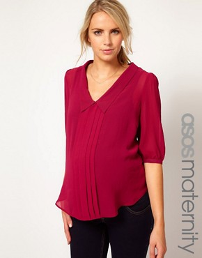 Image 1 ofASOS Maternity Shirt With Dropped Collar