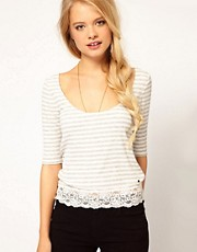 Denim &amp; Supply By Ralph Lauren Stripe Top With Lace Trim
