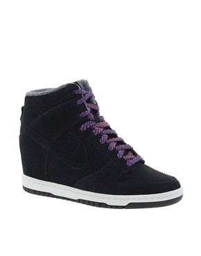 Image 1 ofNike Dunk Sky High Top Black Wedge Trainers