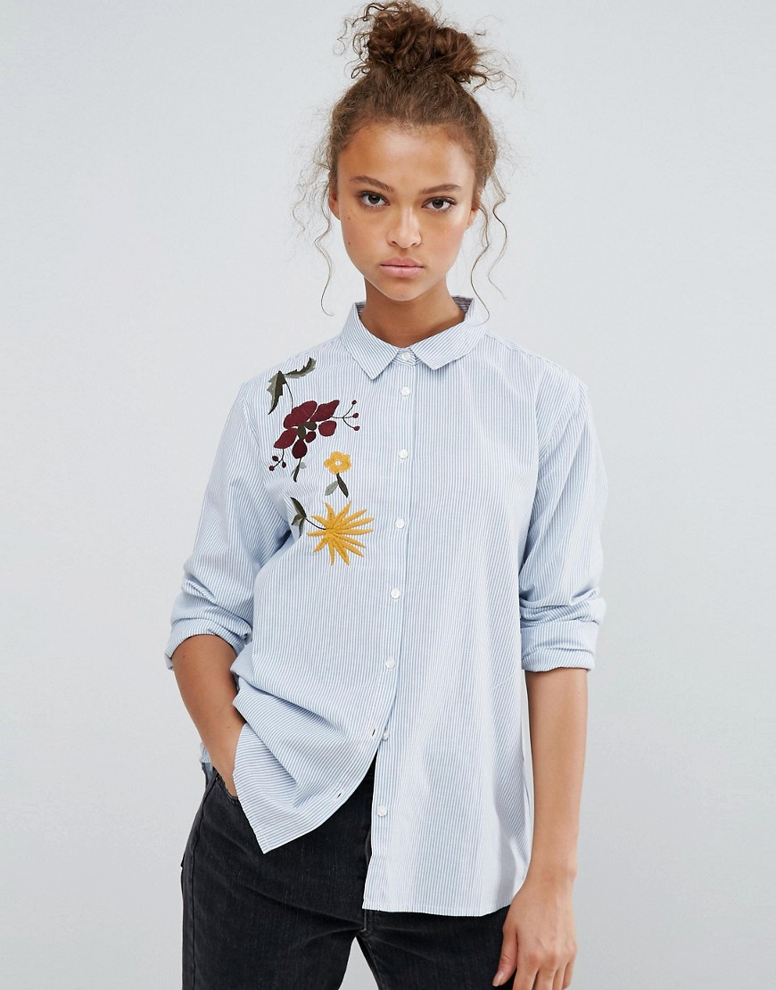 B.Young Embroided Shoulder shirt - Blue