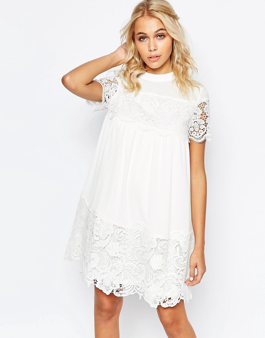 Fashion Union Smock Dress With Lace Inserts - White