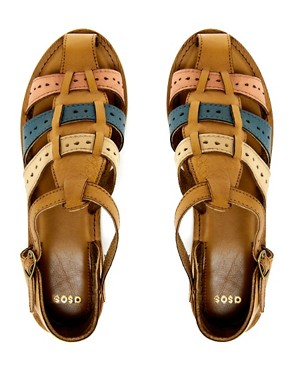 Image 3 of ASOS FIX Leather Woven Flat Shoes