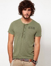G Star T-Shirt Aero Grandad Collar