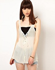 One Teaspoon Hot Rod Tank in White with Lace Up Detail