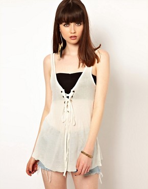 Image 1 ofOne Teaspoon Hot Rod Tank in White with Lace Up Detail