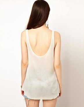 Image 2 ofOne Teaspoon Hot Rod Tank in White with Lace Up Detail