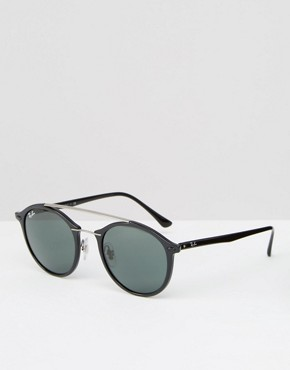Ray-Ban Round Sunglasses with Metal Brow Bar