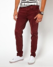 River Island Slim Craig Jeans in Berry