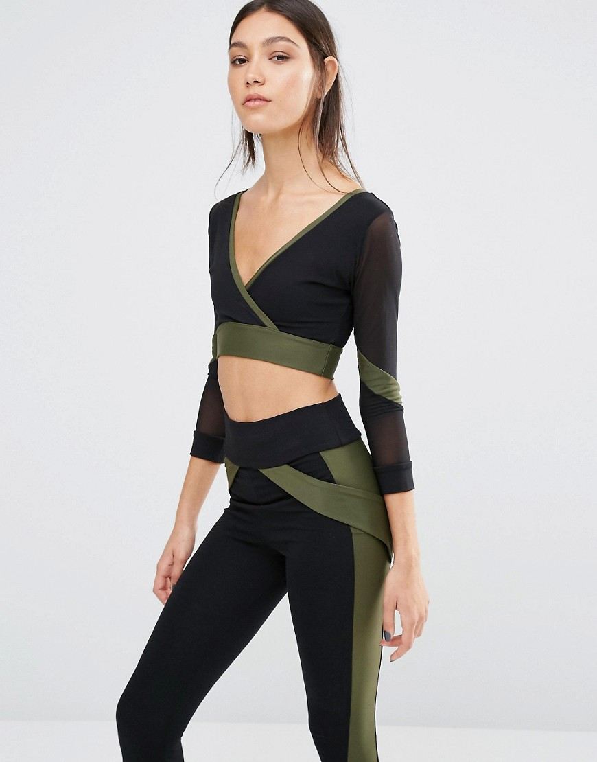 Product photo of Quontum v front crop top khaki