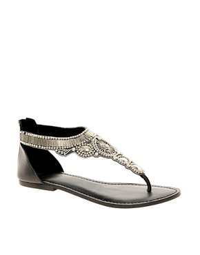 Image 1 ofASOS FLORIDA Studded Leather Flat Sandals