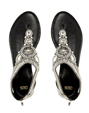 Image 3 ofASOS FLORIDA Studded Leather Flat Sandals