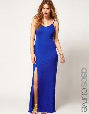 Image 1 ofASOS CURVE Maxi Dress With Thigh Split