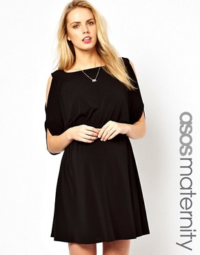 Image 1 ofASOS Maternity Exclusive Dress with Open Shoulder