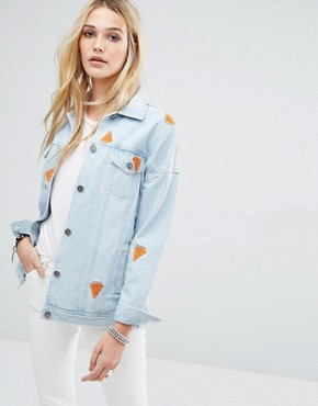 Noisy May Watermelon Denim Jacket