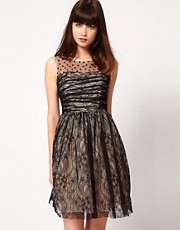 Nishe Lace Dress with Heart Mesh Detail