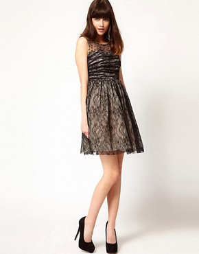 Image 4 of Nishe Lace Dress with Heart Mesh Detail