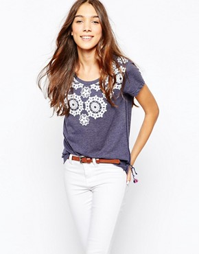Jack Wills Lace Rosette Print Tshirt
