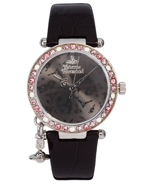 Image 1 ofVivienne Westwood Orb In Black With Diamante Detail Watch