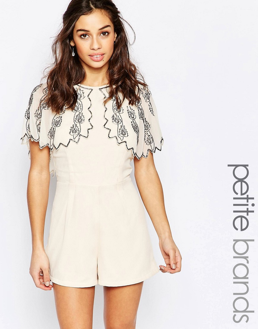 Maya Petite Heavily Embellished Cape Sleeve Romper - Cream