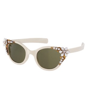 Image 1 ofASOS Premium Embellished Cat Eye Sunglasses
