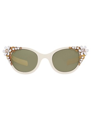 Image 2 ofASOS Premium Embellished Cat Eye Sunglasses