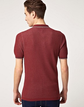 Image 2 ofFred Perry Laurel Wreath Textured Knitted Polo