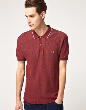 Image 1 ofFred Perry Laurel Wreath Textured Knitted Polo