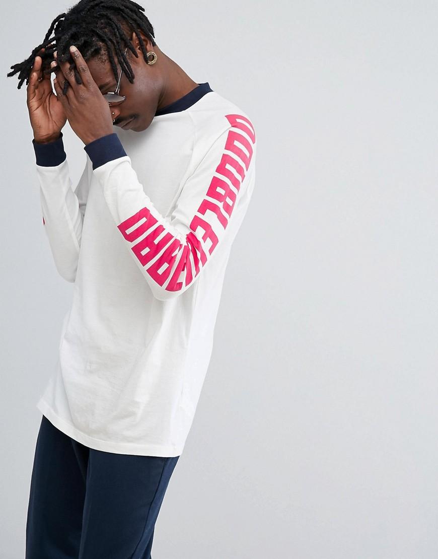 ASOS Longline Long Sleve T-Shirt With Text Print Raglan Sleeves - White