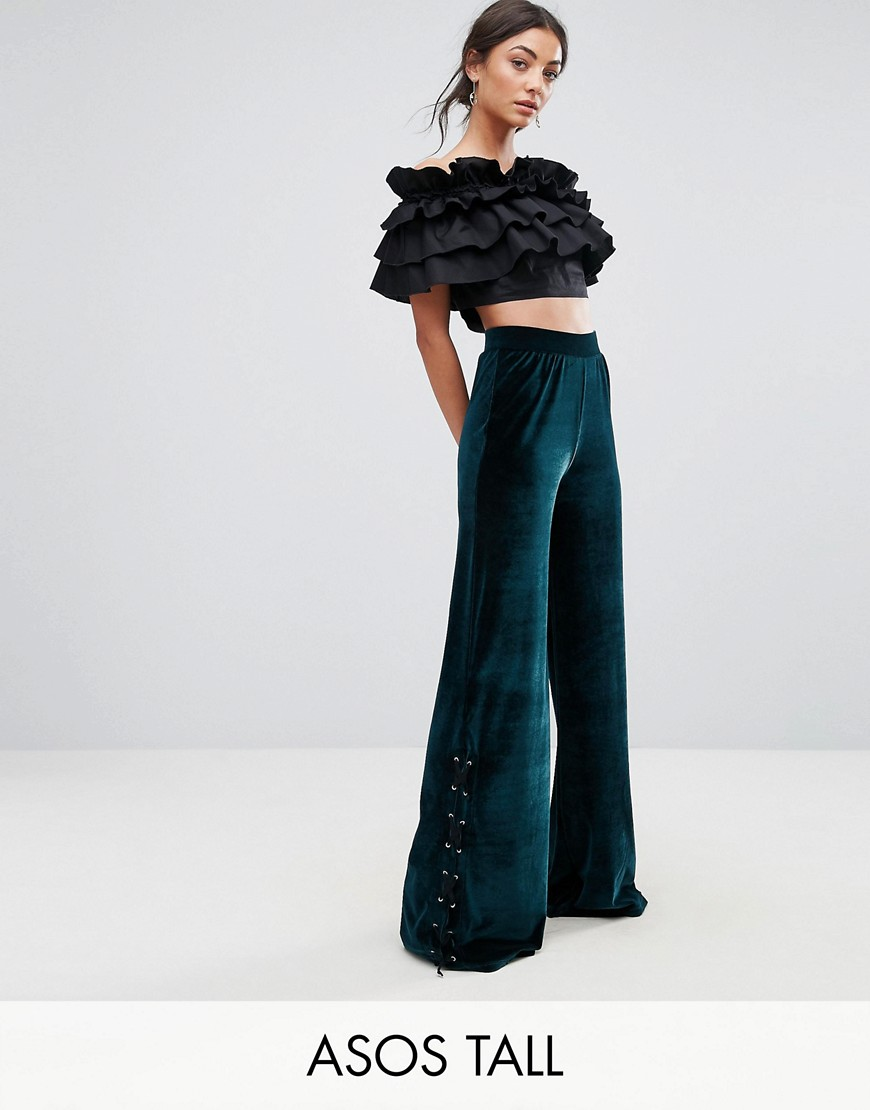 ASOS TALL EXCLUSIVE Wide Leg Velvet Trousers - Forest green