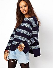 ASOS Stripe Jumper With Zip Back
