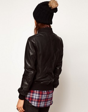 Image 2 ofASOS Soft Leather Bomber Jacket