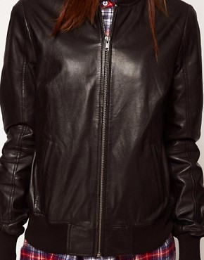 Image 3 of ASOS Soft Leather Bomber Jacket