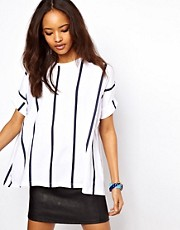 ASOS Oversize T-Shirt in Vertical Stripe