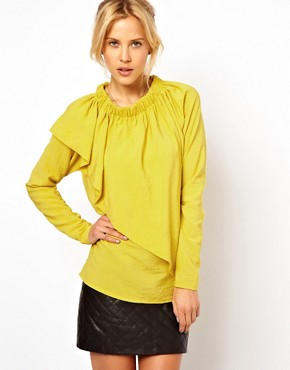 Image 1 ofASOS Blouse With Gathered Neck And Asymmetric Layer