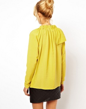 Image 2 ofASOS Blouse With Gathered Neck And Asymmetric Layer