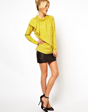 Image 4 ofASOS Blouse With Gathered Neck And Asymmetric Layer