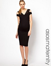 ASOS Maternity Midi Pencil Dress With Textured Off Shoulder Detail