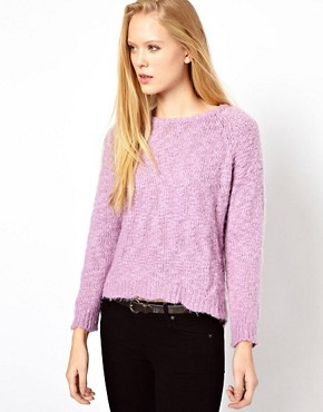 Image 1 ofGanni Fluffy Jumper with Dipped Hem