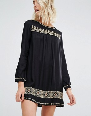 Gat Rimon Rene Long Sleeve Embroidered Mini Dress