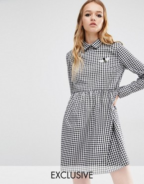 Reclaimed Vintage Gingham Dress With Bumblebee Patch