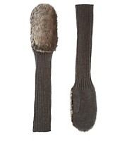 ASOS Faux Fur And Knit Mittens