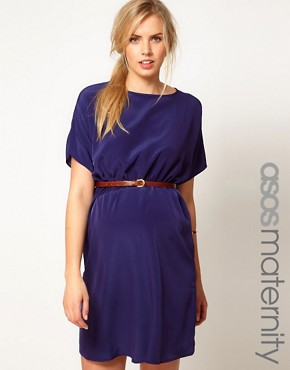 Image 1 ofASOS Maternity Exclusive Woven Dress With Belt