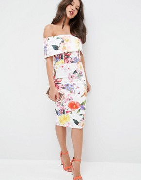 ASOS Deep Fold Bardot Off The Shoulder Midi Pencil In Bright Tropical Floral