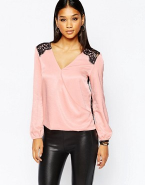 Lipsy Wrap Front Blouse With Scallop Lace Back