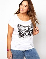 New Look Inspire - T-shirt con gatto con occhiali